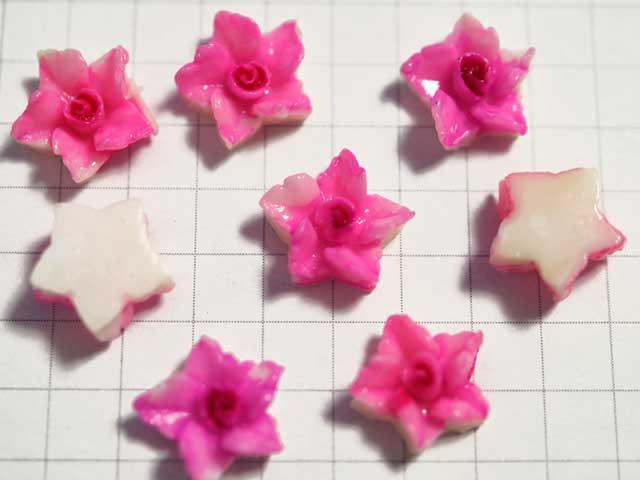 CS532JJ 樹脂カボション 星型花 ピンク