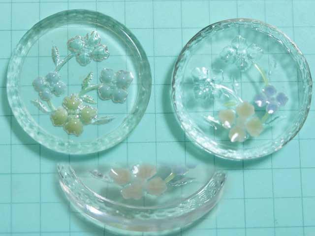 CS631JJ 24mm グラスインタリオ 彫刻花 カラフル