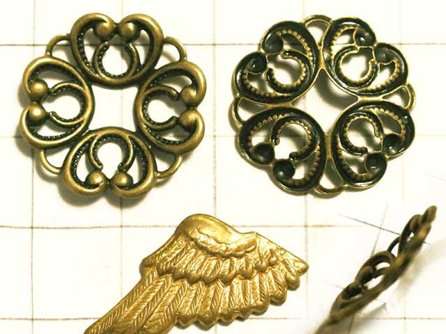 MF651FM フィリグリー クローバー環 真鍮古美