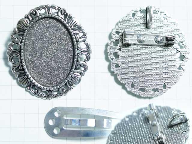MS404JF 25×18用 オーバルST ブローチ&ペントップ 銀古美